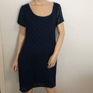Navy Eyelet Isaac Mizrahi XXL Dress 2X